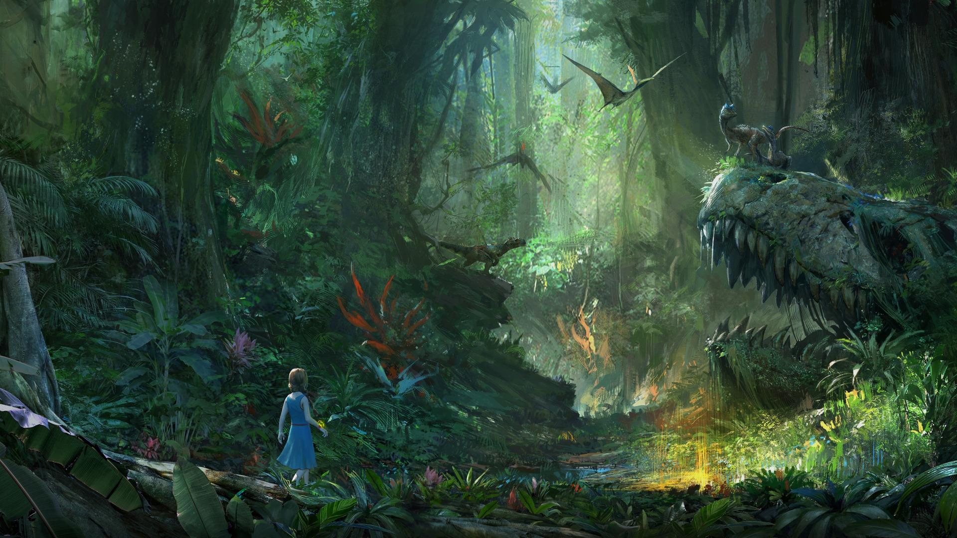 Download Wallpaper Green Light Sake Girl Fantasy Forest