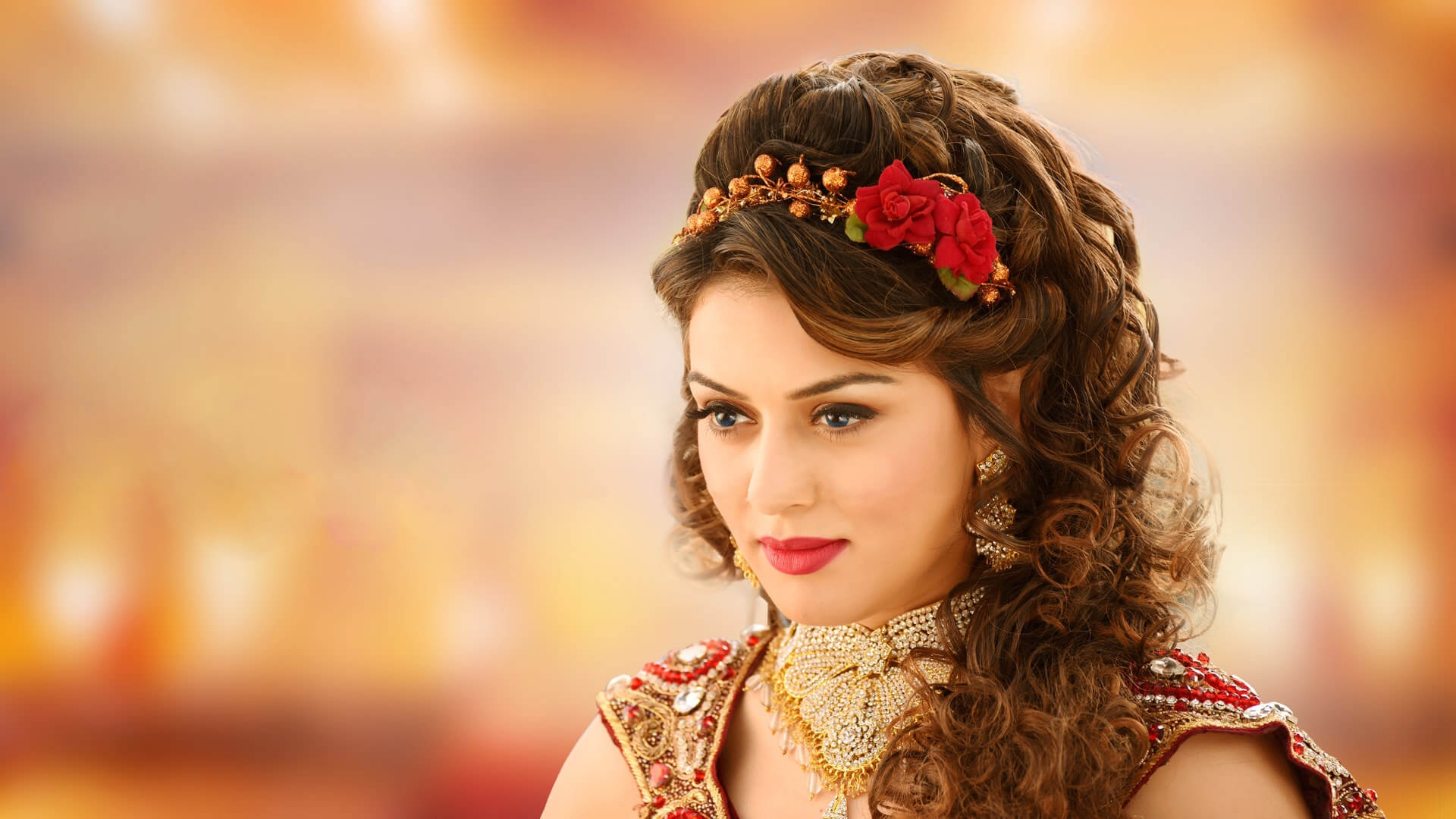 Download Wallpaper Necklace Red Lipstick Indian Actress India
