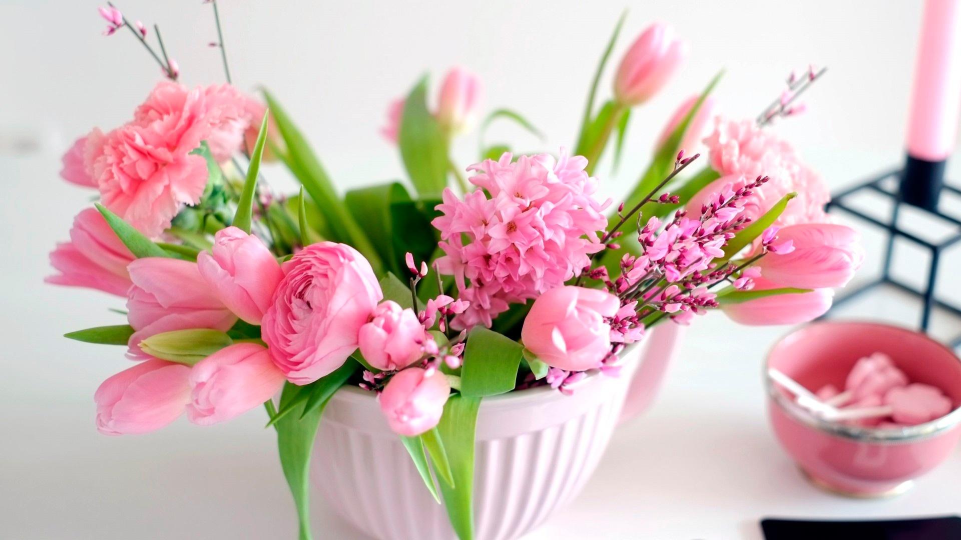 тюльпаны ваза море  № 1012844  скачать