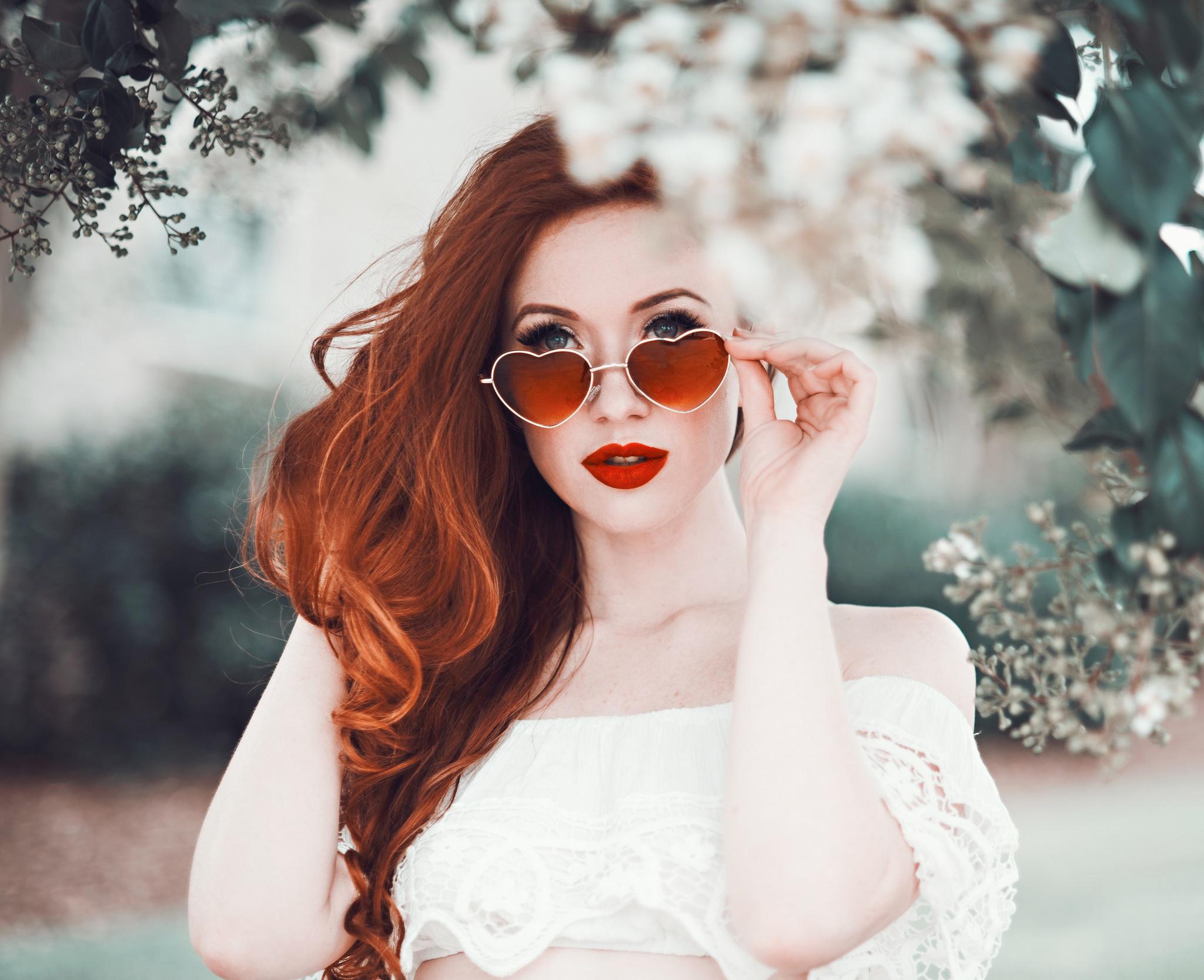 Women redhead glasses girls going the