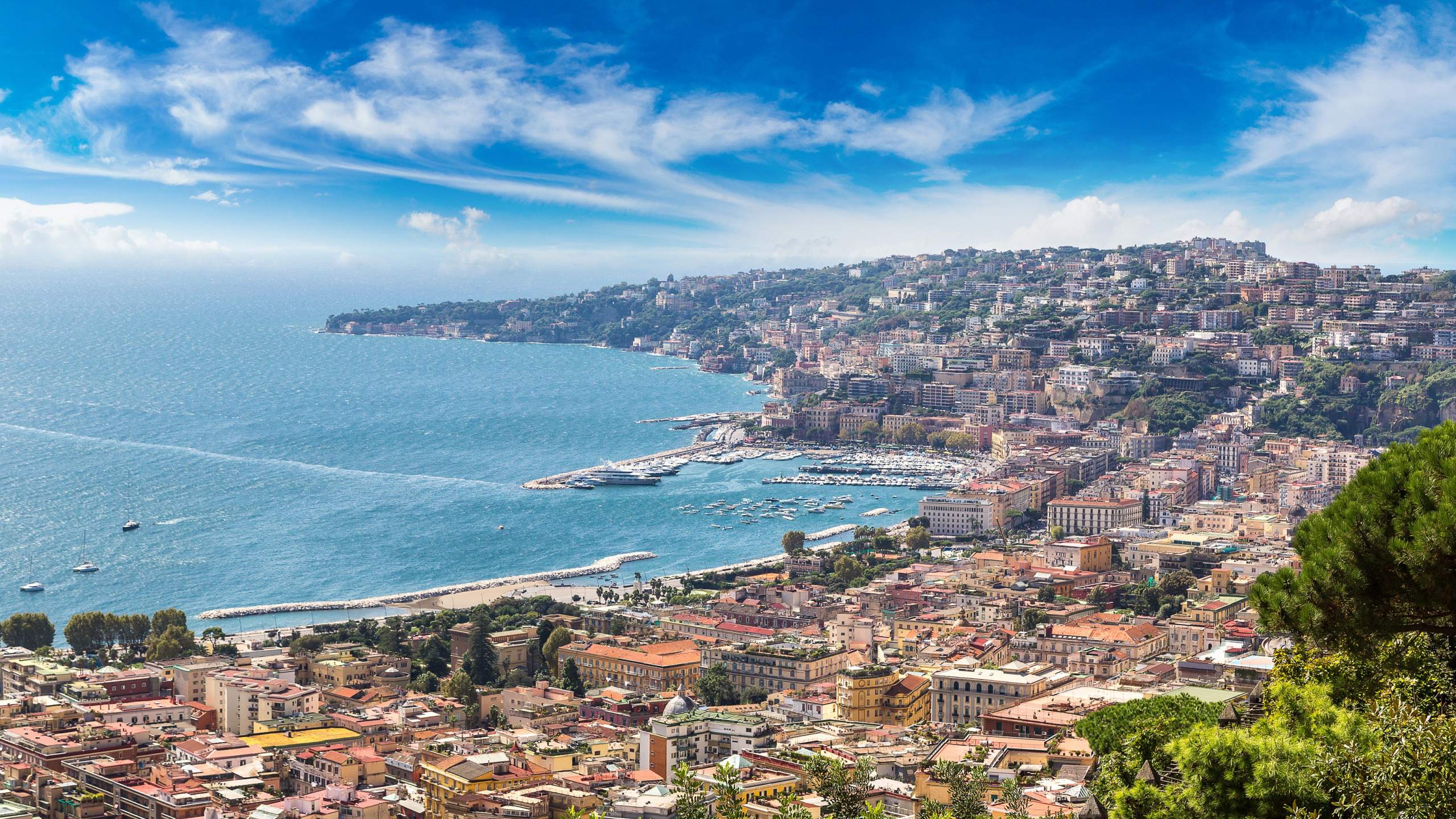 Download Wallpaper City The City Coast Italy Italy Coast Panorama Europe View Cityscape Naples Naples Travel Sorrento Section City In Resolution 2560x1440