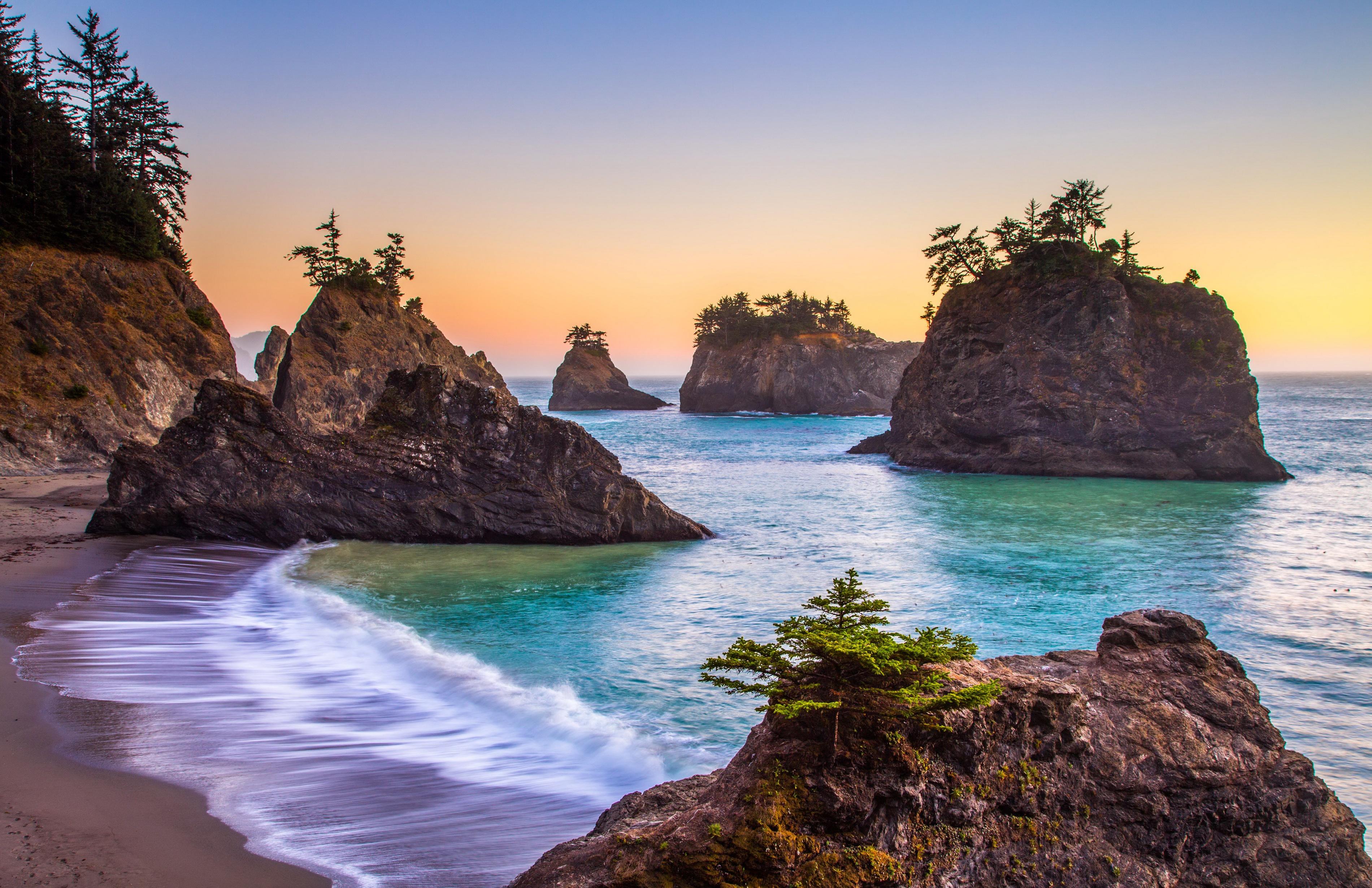 природа море деревья камни скалы  № 38458 загрузить