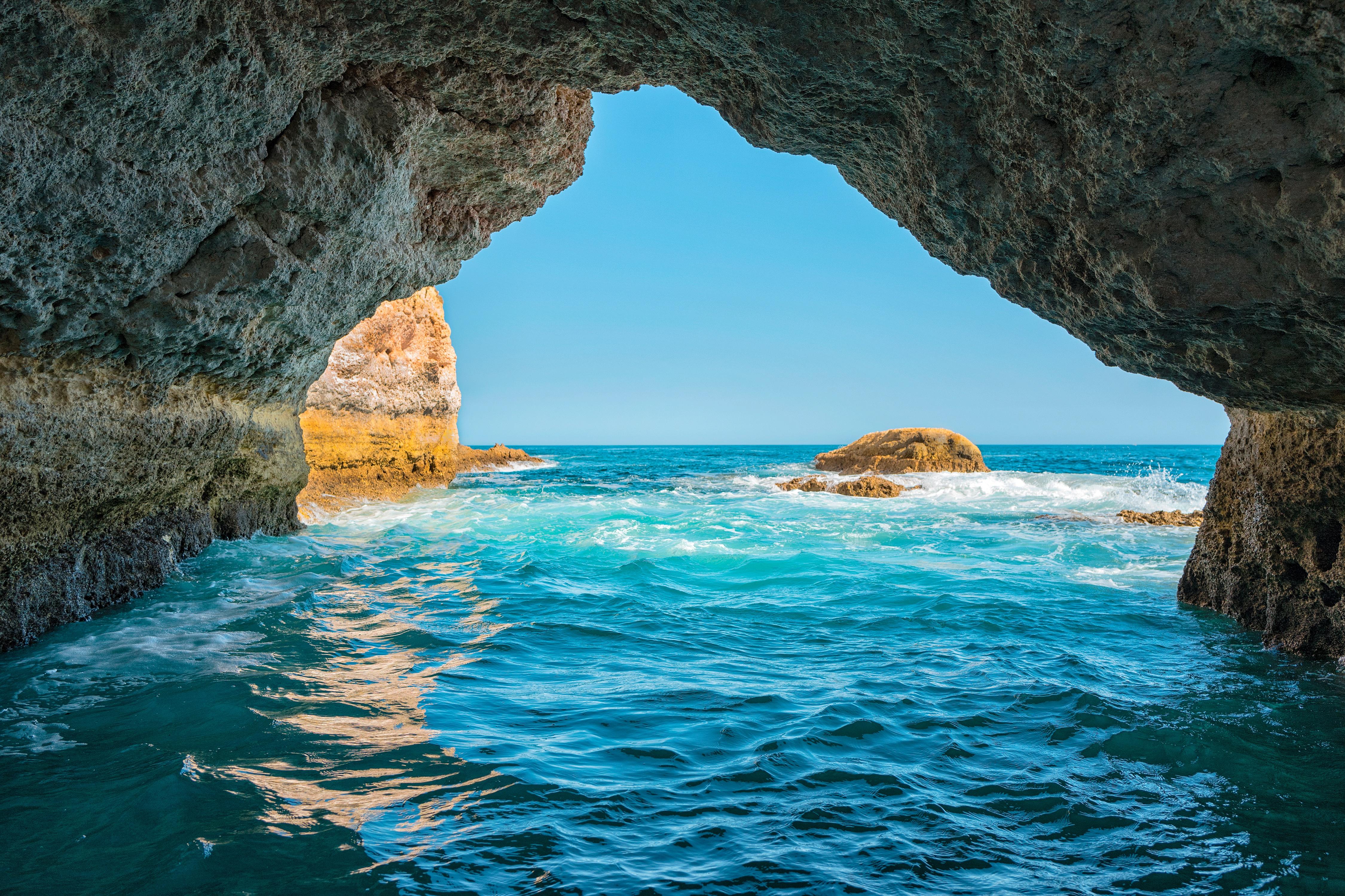 Пещера море рассвет камни  № 381417  скачать
