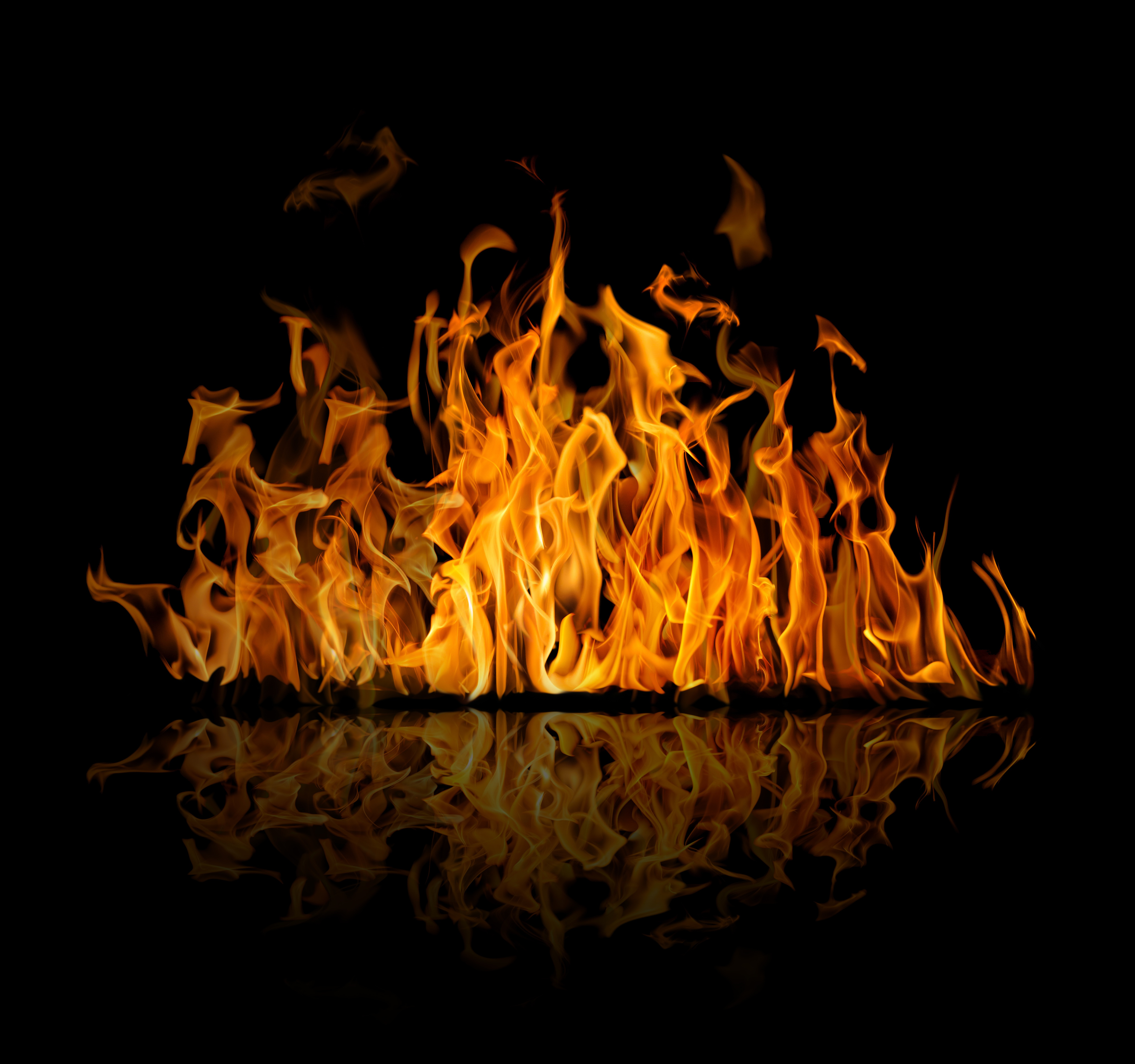 Download wallpaper reflection, background, fire, flame ...