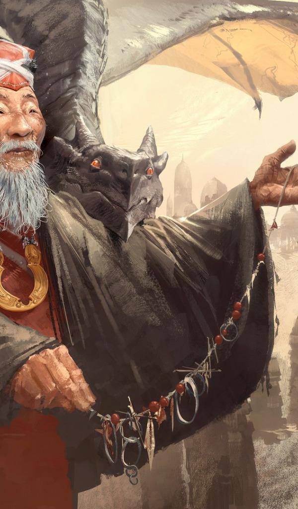 Download Wallpaper Fantasy Old Man Artist Asian Digital Art Artwork Fantasy Art Elder Dragons Necklace Master Dome Wise Temple Beard Section Fantasy In Resolution 600x1024