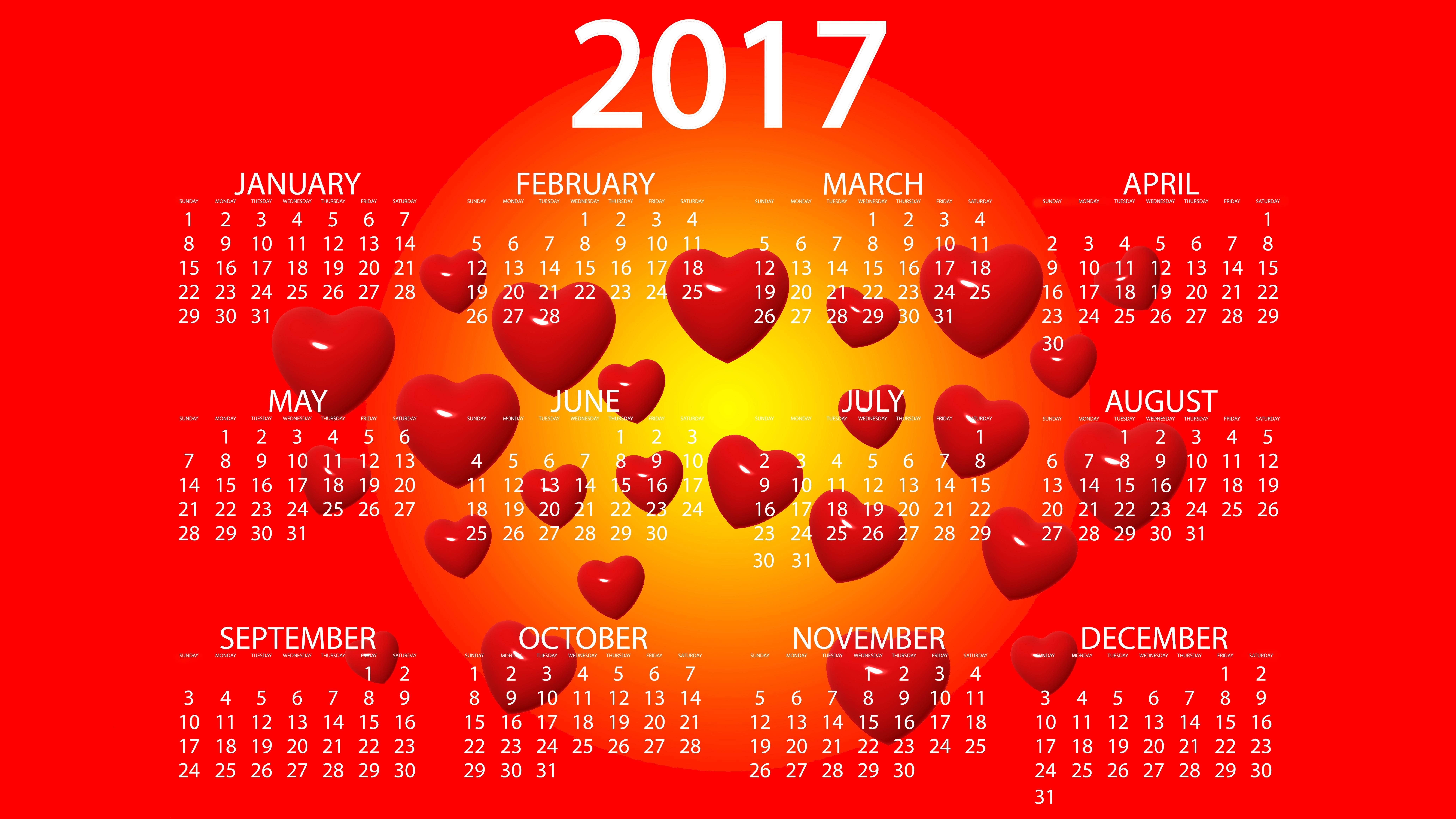 скачать обои на рабочий стол с календарем на 2017 № 194772 загрузить