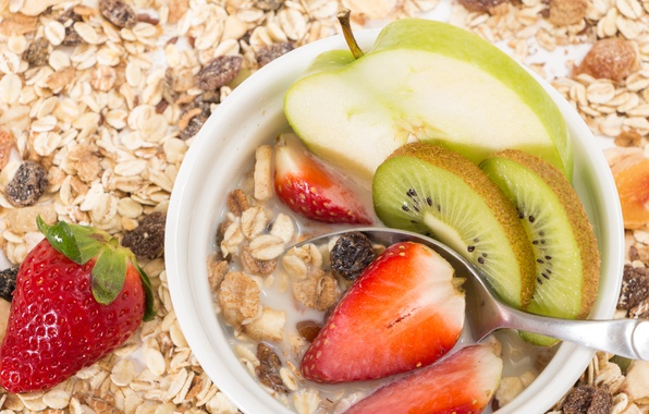Picture berries, Breakfast, strawberry, fruit, breakfast, milk, muesli, muesli, fresh berries