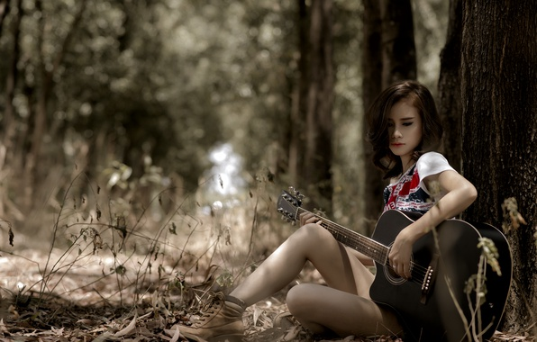 Photo wallpaper music, girl, guitar