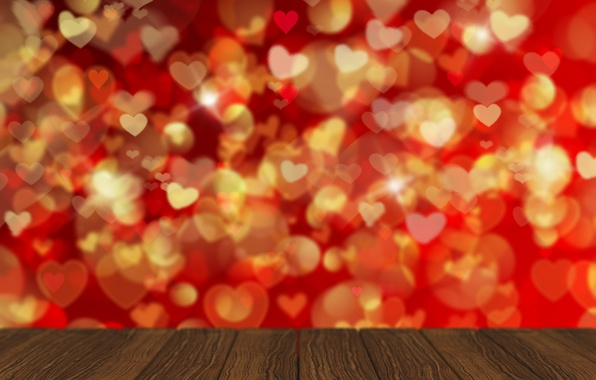 Photo wallpaper bokeh, background, love, romantic, hearts, hearts, Valentine's Day, red