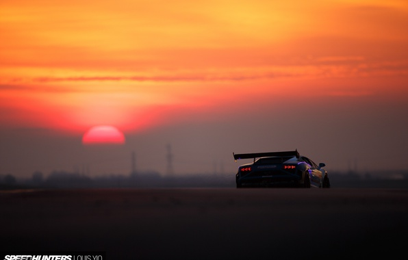 Picture the sun, lights, Lamborghini, morning, Gallardo, track, rear view, Super Trophy