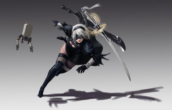 Picture girl, sword, robot, katana, ken, blade, warrior, bishojo, guardian, Nier Automata
