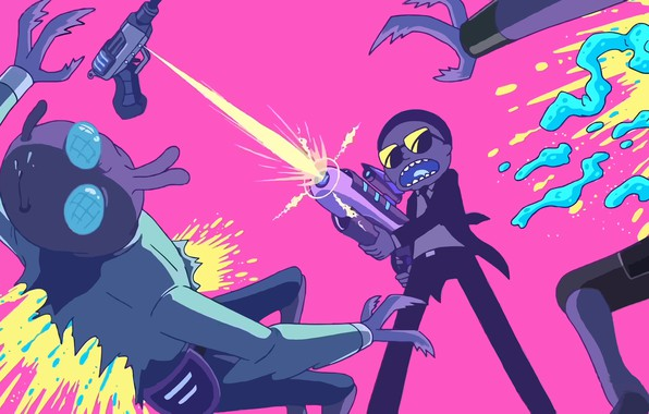Picture squirt, yellow, green, gun, weapons, fly, grey, fire, pink, black, blood, dark, light, jeans, art, ...