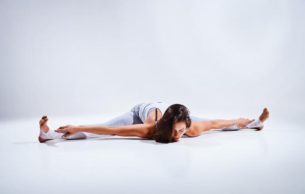 Picture brunette, pose, female, yoga, elongation