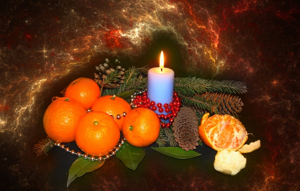 Picture mood, candle, spruce, tangerines, author's photo by Elena Anikina, Christmas still life