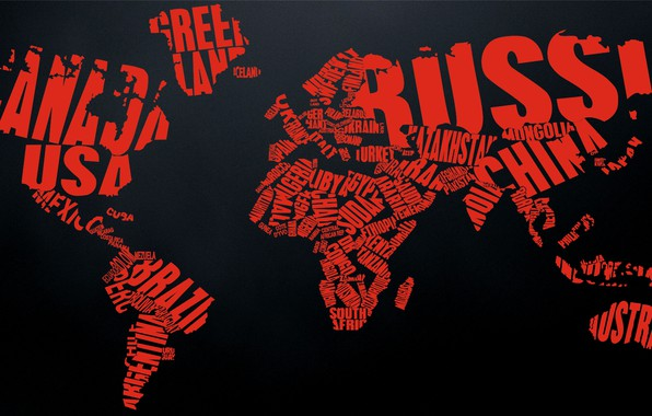 Picture world, red, black, countries