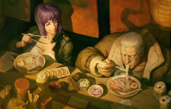 Wallpaper Anime Art Ghost In The Shell The Fireworks Kusanagi Batou Major Images For Desktop Section Prochee Download