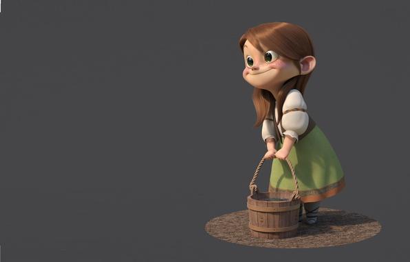 Picture smile, rendering, mood, girl, bucket, girl, Gretel, minimalis, guzz soares