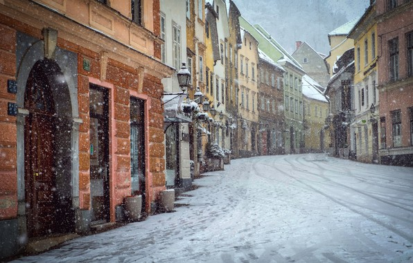 Picture snow, city, the city, street, the building, snowfall, Street, snow, snowfall, building