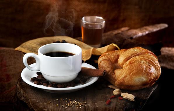 Picture tea, coffee, drink, cinnamon, coffee beans, croissant