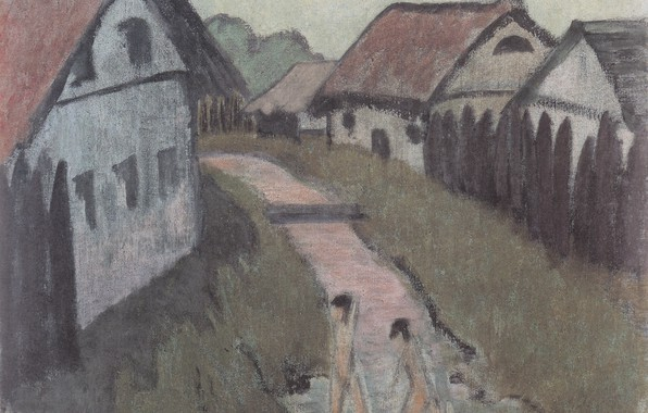 Picture girls, home, river, Expressionism, Otto Mueller, ca1928, Village Creek with bathers