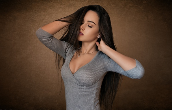 Picture girl, pose, background, makeup, dress, brunette, hairstyle, is, beautiful, Katya, closing his eyes, Dmitry Sn