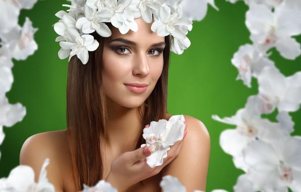 Picture flowers, portrait, Girl, orchids