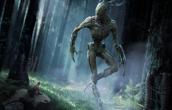 Picture forest, grass, light, trees, fiction, frog, being, art, monster
