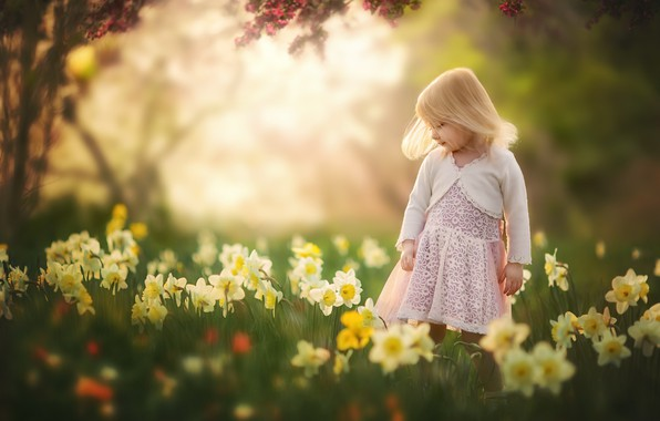 Picture summer, flowers, girl