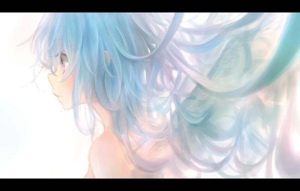 Picture girl, wings, anime, art, profile, milkuro, mari