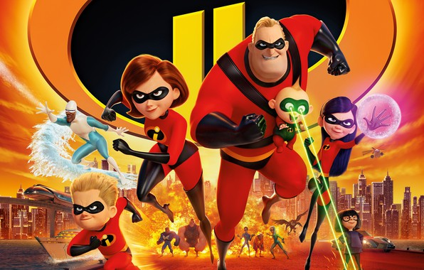Picture cartoon, characters, Disney, Incredibles 2, The incredibles 2