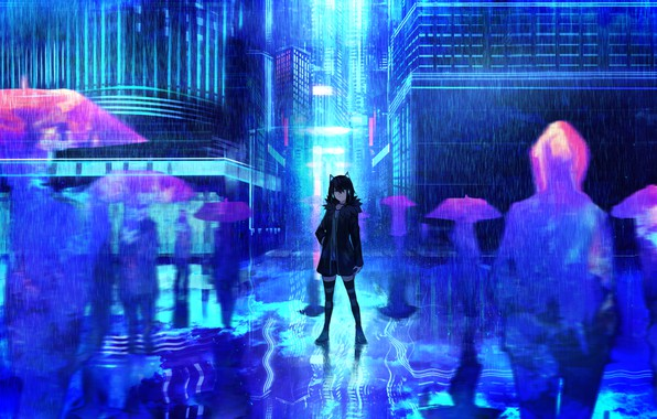 Picture girl, the city, background, rain, anime, art, umbrellas, silhouettes, tarbo (exxxpiation)