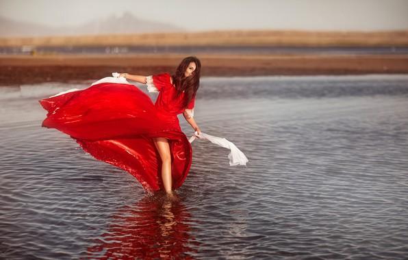 Picture water, girl, mood, red dress, Alyona Yakovleva