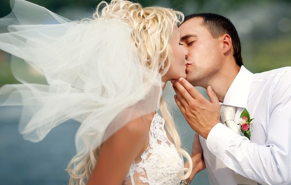 Picture girl, love, holiday, kiss, dress, pair, male, the bride, veil, wedding