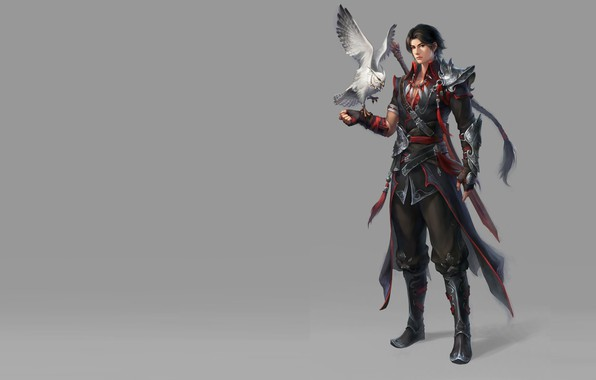 Picture weapons, bird, warrior, art, guy, fantasy, pet, geme, assistant, Moky lin, 2D ConceptArt