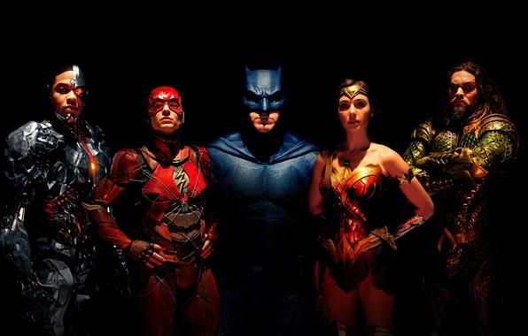 Picture fiction, black background, Wonder Woman, poster, Batman, Ben Affleck, comic, costumes, superheroes, DC Comics, Bruce ...