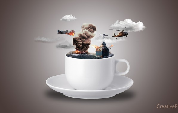 Picture sea, War, New, Helicopter, Cup, Fog, Wallpaeprs, Plane, Ship, Aeroplane, CreativePixal