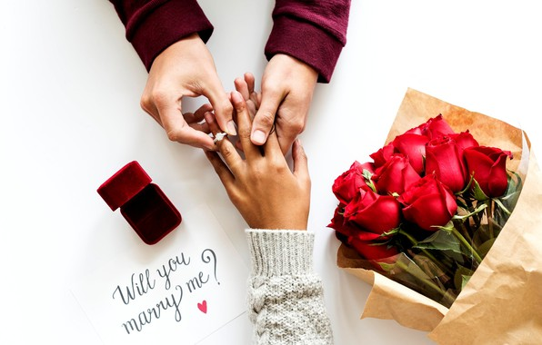 Picture the inscription, roses, bouquet, hands, ring