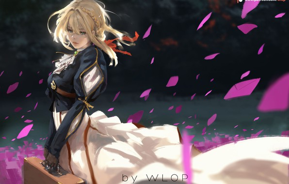 Picture girl, petals, letters, Violet Evergarden