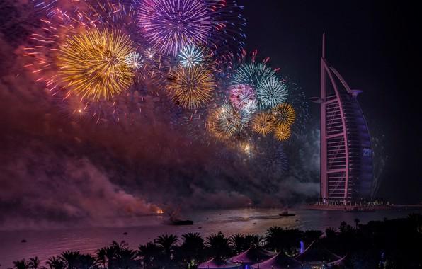 Photo wallpaper night, fireworks, Dubai, New Year, UAE