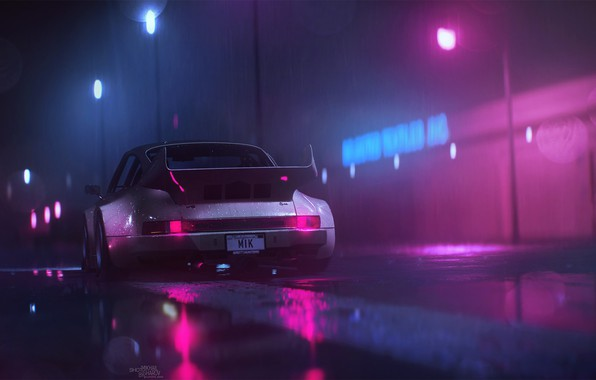 Picture Night, Music, 911, Porsche, Neon, Rain, Background, Porsche 911, Electronic, 1980, Puddles, Synthpop, Synth, Retrowave, …