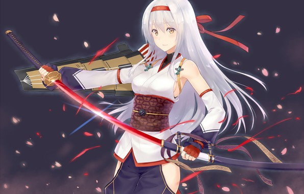 Photo wallpaper girl, sword, anime, art