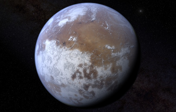 Picture space, planet, Mars, ice