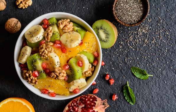 Picture orange, Breakfast, kiwi, fruit, nuts, banana, garnet, fruit salad