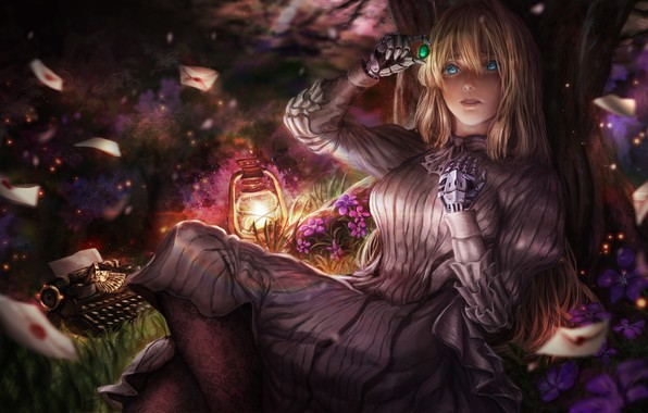 Picture girl, anime, art, brooch, Violet Evergarden