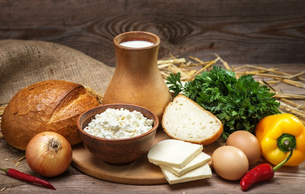 Picture greens, eggs, cheese, milk, bow, bread, Board, pepper, bread, cheese, milk, cheese, egg, pepper, products