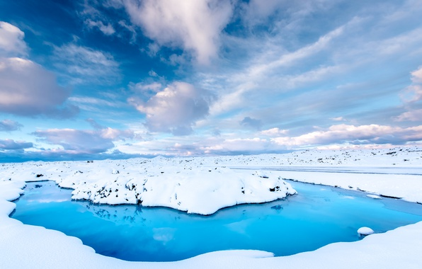 Picture winter, road, the sky, water, clouds, snow, Iceland