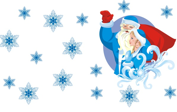 Picture snowflakes, mood, holiday, vector, art, gifts, New year, Maiden, bag, Santa Claus
