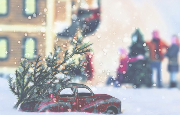 Picture machine, the city, holiday, tree