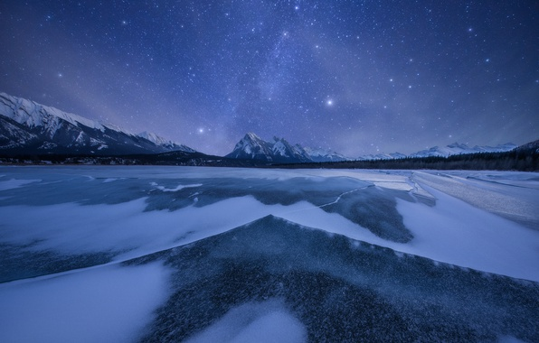 Picture winter, the sky, stars, snow, mountains, night, lake, ice