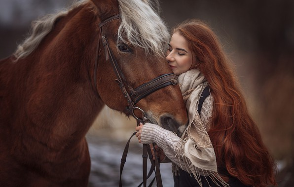Picture girl, mood, horse, horse, red, redhead, long hair, Annie Of Antikov
